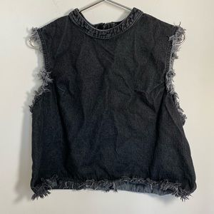 Gap 1969 Black Denim Jean Frayed Tank XL